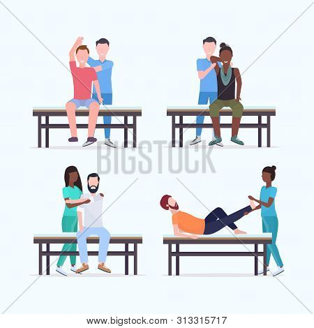 Set Masseurs Therapists Doing Healing Treatment Of Mix Race Patients On Massage Table Specialists Ma