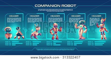 Companion Robot Evolution Timeline Infographics, Robotics Progress Stages From Small Droid To Humani