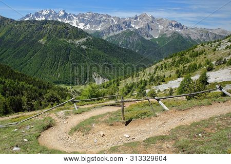 Hiking Path  Leading To Fromage Pass Above Ceillac Village, Queyras Regional Natural Park, Southern