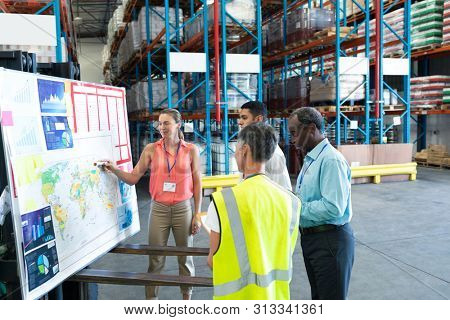 Front view of diverse warehouse staffs discussing over whiteboard in warehouse. This is a freight transportation and distribution warehouse. Industrial and industrial workers concept