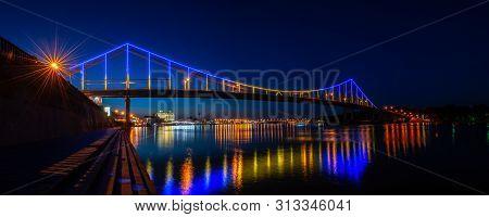 Night Panorama Of Pedestrian Bridge On Dnipro In Kiev Ukraine