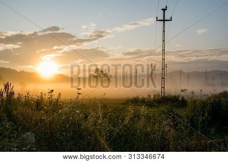 Sunset In A Field With Lots Of Vegetation, Trees And Electricity Poles. An Image That Seems To Be De