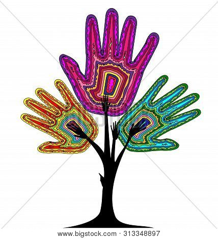 White Background And Abstract Color Tree, Hands With Lines