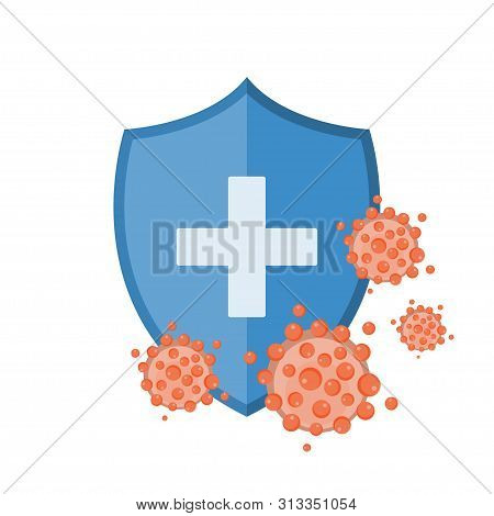 Blue Shield Protecting From Virus Germs And Bacteria. Immune System Concept. Vector Illustration