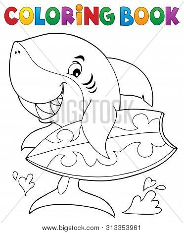 Coloring Book Surfer Shark Theme 1 - Eps10 Vector Picture Illustration.