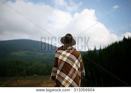 A Man Admisring A Carpathians Landscape. Transalpina, Romania Horizontal Outside Shot.