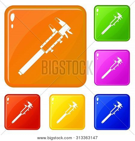 Vernier Caliper Icons Set Collection Vector 6 Color Isolated On White Background