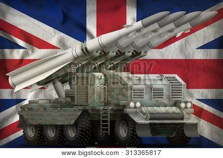 Tactical Short Range Ballistic Missile With Arctic Camouflage On The United Kingdom (uk) Flag Backgr