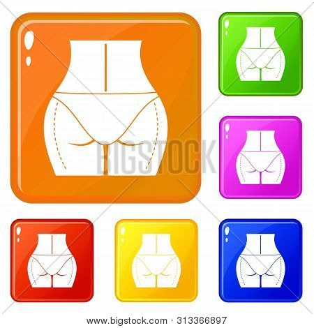 Female Buttocks Prepared To Plastic Surgery Icons Set Collection Vector 6 Color Isolated On White Ba