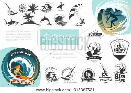 Vintage Surfing Elements Set With Windsurfing Surf Van Sea Waves Kitesurfing Palm Trees Shark Dolphi