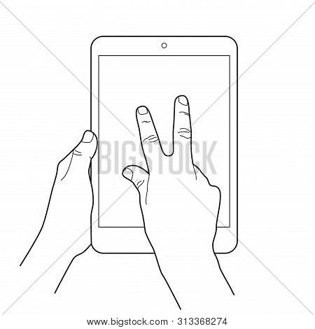 Zoom Out Gesture Icon For Tablet Touch Devices. Simple Outlined Vector Icon. White Background.