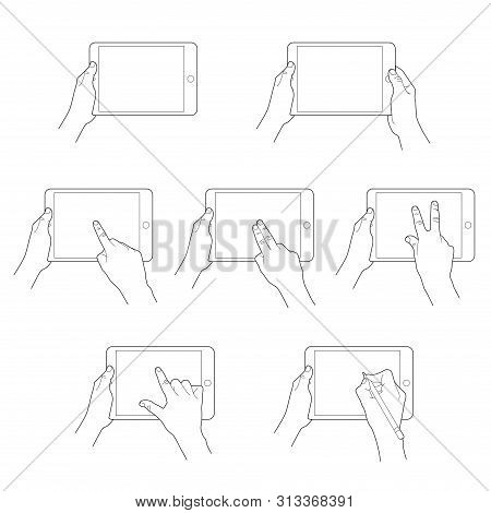 Illustrations  Set Of Gestures To Control Digital Tablets. Finger Gesture Touch Tablet Screen, Multi