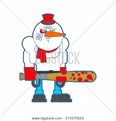 Hooligan Snowman. Bully Santa Claus Helper. Ruffian New Year. Christmas Vector Illustration