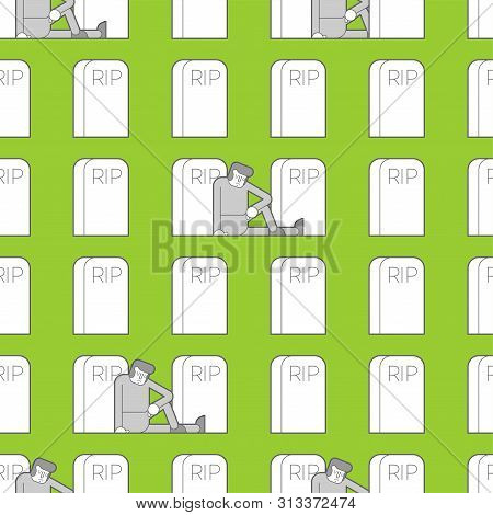 Cemetery Pattern Seamless. Sad Guy Is Sitting By Grave. Man And Headstone