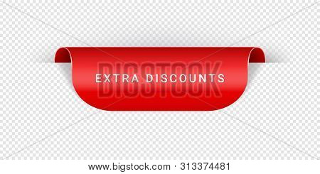 Extra Discounts Vector Sticker, Tag, Banner, Label, Sign Or Ribbon Realistic Red Origami Style Vecto