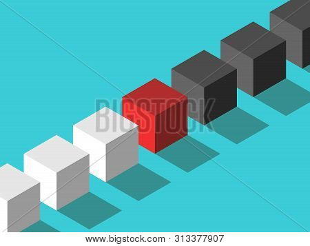 Isometric Red Mediator Cube Between White And Black Ones. Mediation, Diplomacy, Management, Negotiat
