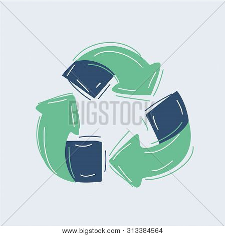 Cartoon Vector Illustration Of Sketch Doodle Recycle Reuse Symbol Isolated On White Background. Recy
