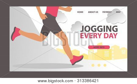 Jogging At Morning And Running Man Vector Web Template. Runner Is Engaged In Fitness And Active Heal