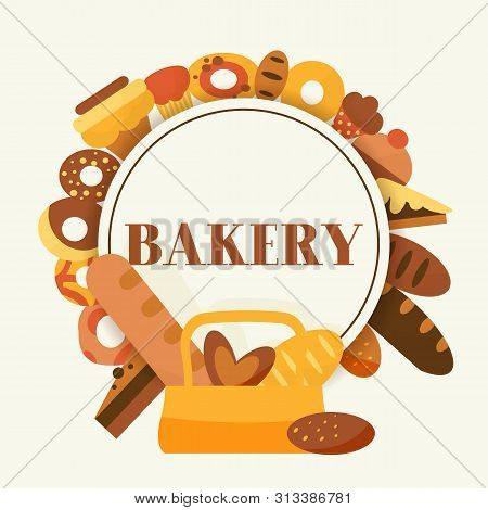 Bread For Bakery Vector Cartoon Illustration. Rye, Whole Grain And Wheat Bread, Pretzel, Muffin, Pit