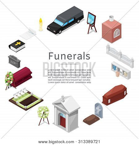 Funeral Vector Icon Set In Isometric Style For Posters. Ritual Services. Funeral Accessories Wreath,