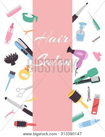 Hairdresser Banner With A Set Of Various Combs, A Hair Dryer, Scissors For A Hairstyle. Hairdressing