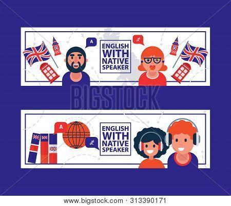 English Language Learning With Native Speaker Vector Illustration. English Language Education Online