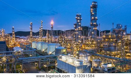 Aerial View Petrochemical Plant And Oil Refinery Plant Background At Night,  Petrochemical Oil Refin