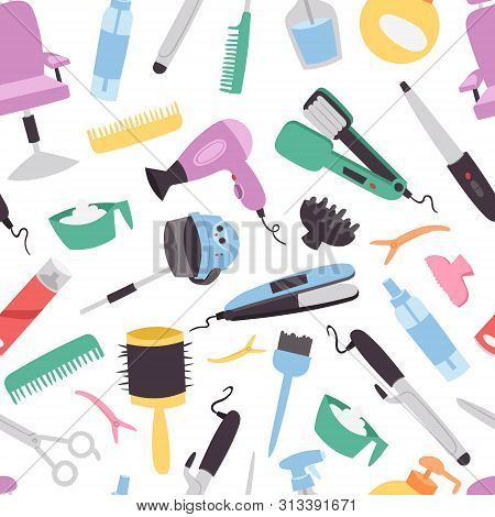 Beauty Salon Vector Seamless Pattern. Colorful Hairdresser Tools And Equipment For Beauty Salon. Fas