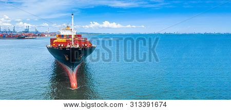 Aerial Side View Container Ship Carrying Container In Import Export Business Logistic And Transporta