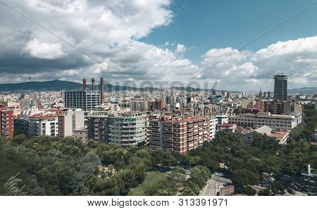 Panorama Of Barcelona With Dramatic Sky In Summer