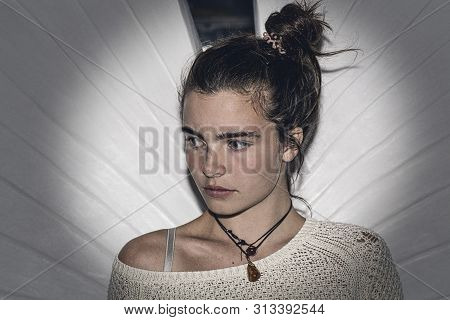 Night Portrait Of An Angry Young Woman