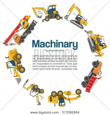 Machinery And Construction Equipment Cars Vector Poster. Special Machines For The Building Work. For
