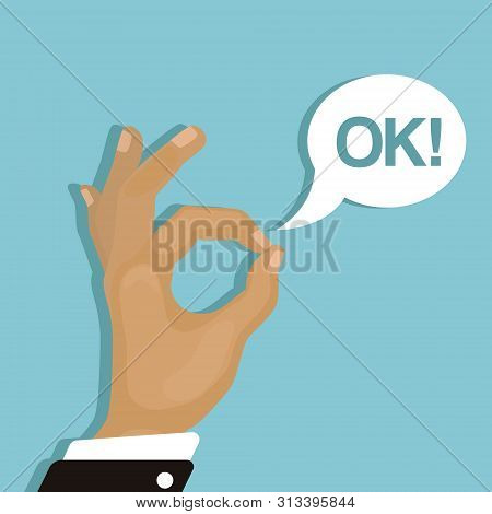 Ok Sign. Hand Of Cartoon Character With Okay Gesture And Text Burst Box Vector Illustration. All Rig