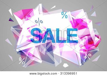 Vector Sale Facet Crystal Banner. 3d Abstract Shape Poster, Card, Advertising. Rose Color Winter Who