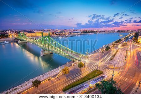 Budapest, Hungary. Aerial Cityscape Image Of Budapest Panorama With Liberty Bridge And Danube River