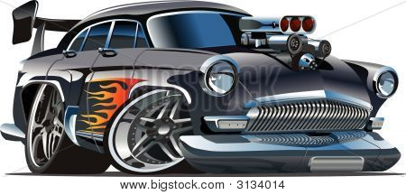 Vector Retro Cartoon Hot Rod