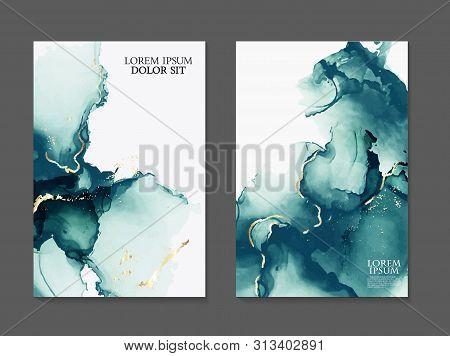 Marble Card Presentation, Flyer,  Invitation Card Template Design, Green, Blue Tender Decoration Iso