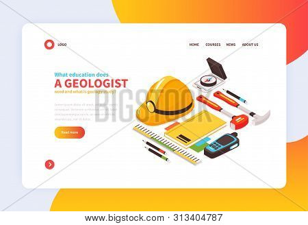 Isometric Geology Concept Banner With Images Of Geologists Tools And Clickable Links Editable Text A