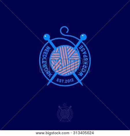Ball Of Yarn And Knitting Needles. Needlework Logo. Handmade Product Community. Business Card Knitti