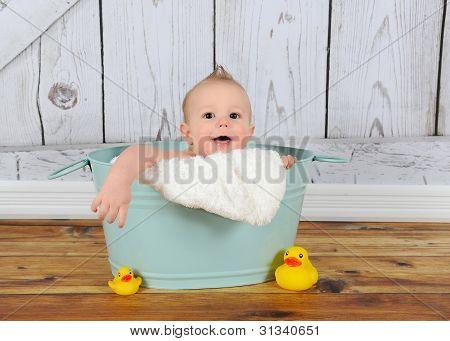 Sweet Baby Boy Playing In Washtub