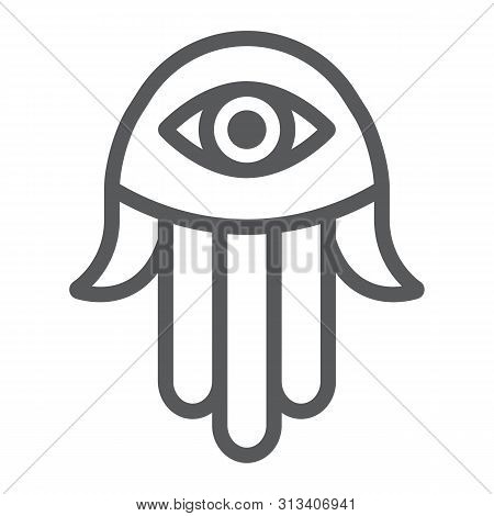 Hamsa Hand Line Icon, Religion And Arabic, Fatima Sign, Vector Graphics, A Linear Pattern On A White