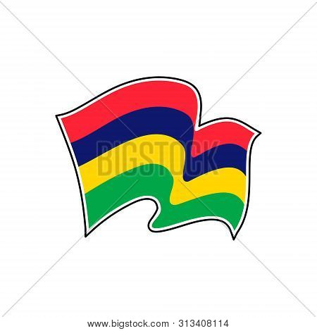 The National Flag Of Mauritius. Vector Illustration. Port Louis