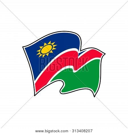 The National Flag Of Namibia. Vector Illustration. Windhoek