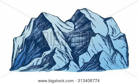 Summit Of Mountain Landscape Color Vector. Mountain Rock Peak Discovery Adventure Wilderness Place F