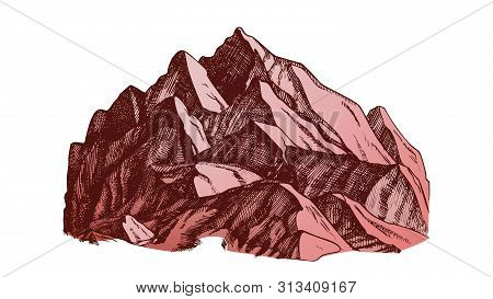 Peak Of Mountain Crag Landscape Hand Drawn Vector. High Altitude Mountain Place For Extreme Sport Al