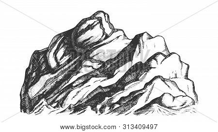 Summit Of Mountain Landscape Hand Drawn Vector. High Altitude Mountain Rock Peak Quiet Place For Ext