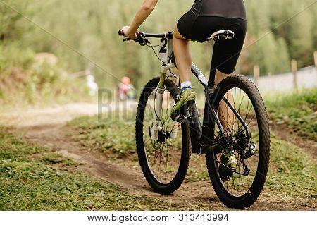 Back Man Mountain Biker Mountain Biking Trail On Mountainbike