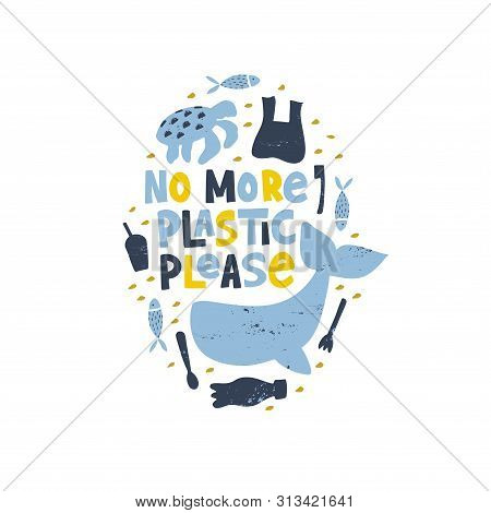 No More Plastic Please Word Concept Banner. Stop Water Pollution Isolated Vector Illustration. Plane