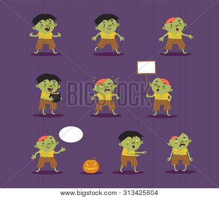 Halloween Zombies, Revived Dead, Set Of Cute Hand-drawn Ghouls Is Suitable For A Festive Design Or A