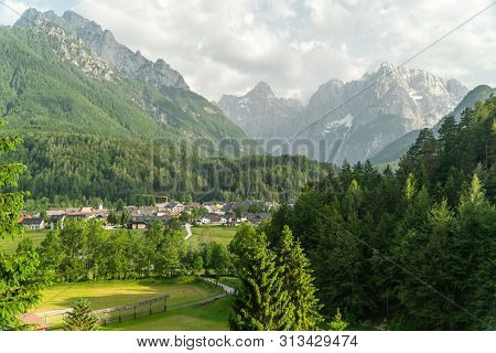 View Of Mountain Landscape Next To Kranjska Gora In Slovenia, View From The Top Of Whole Town Kranjs